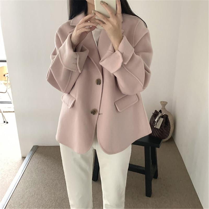 Hc0a17909580744d8a342d8531eca2ed6p - Winter Korean Revers Collar Solid Woolen Short Coat