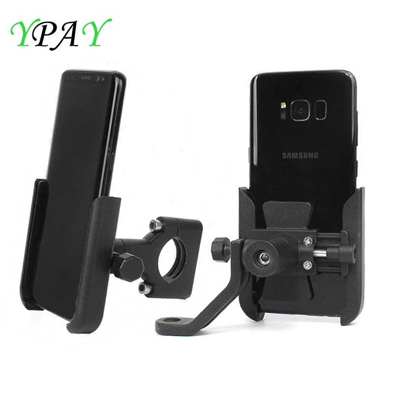 YPAY Aluminum Bicycle Motorcycle Phone Holder Handlebar Adjustable Motorcycle Rearview Mirror Phone Mount 4-6.7 Mobile Support