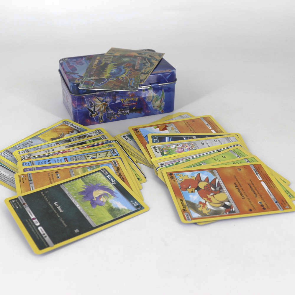 TAKARA TOMY 42pcs Pokemon Cards For Kids Play Card Toy Collections Metal Box VIP Gold Card