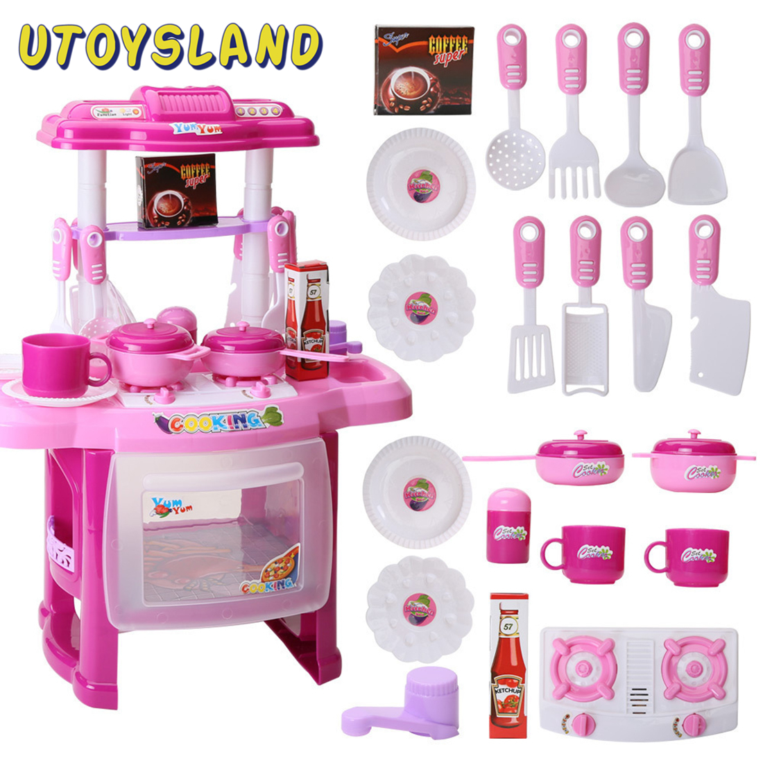 23Pcs Children Pretend Play Kitchen Table Set Kitchen Appliance Cooking Play Set Toy Kitchen With Music And Light For Girls-Pink