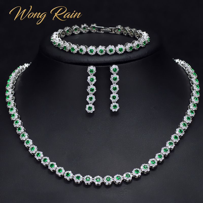 Wong Rain Vintage 100% 925 Sterling Silver Emerald Sapphire Gemstone Necklace/Earrings/Bracelet Cocktail Jewelry Sets Wholesale