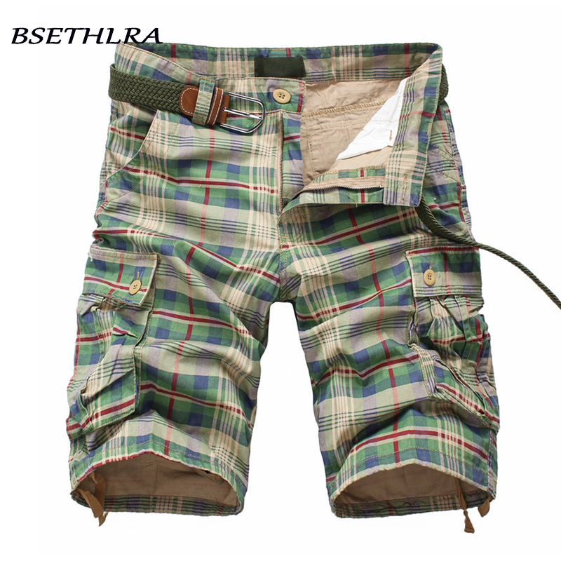 Summer Men Shorts 2020 New Casual Military Men Plaid Beach Shorts Cotton Quality Cargo Mens Short Pants Casual Overalls