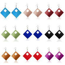 2019 New Multi-color Big Statement Square Drop Earrings Brincos Geometric Rhombus Genuine PU Leather Earrings for Women Girls(China)