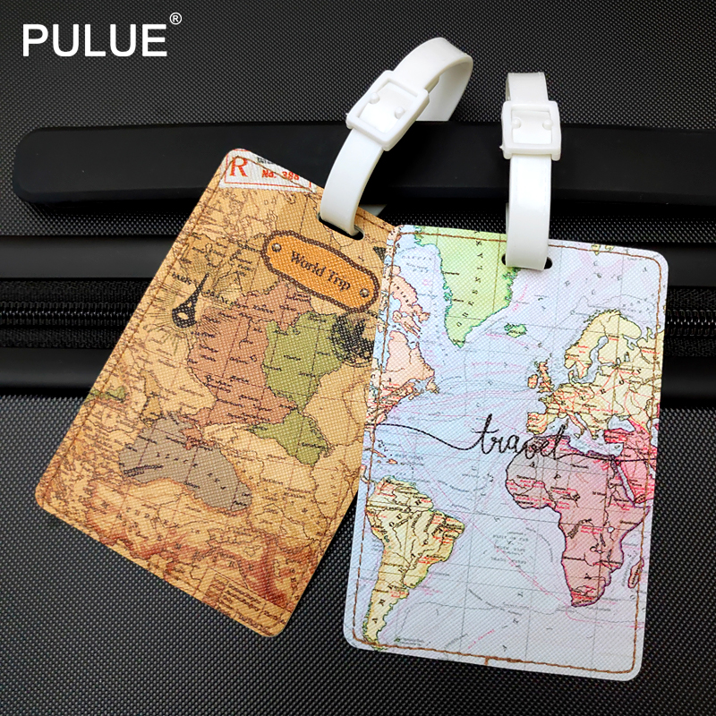 Fashion PU Leather Map Luggage Tag Women Travel Accessories Suitcase ID Address Holder Baggage Boarding Tag Portable Label Bag