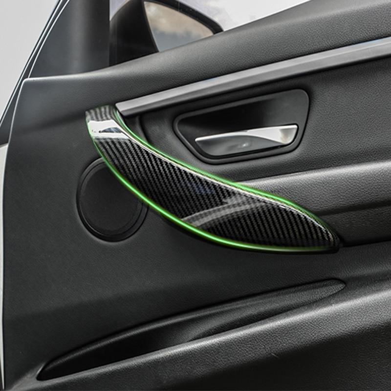 Real Carbon Fiber Door Armrest Window Switch Sticker for BMW  3//4 Series 2013-19