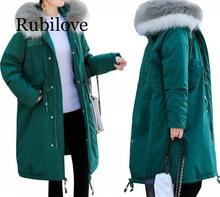 Rubilove High quality Winter Long Parkas Women Down Jackets Duck down cotton Warm Outwear Coats Female Big Fur Collar Hooded Dow