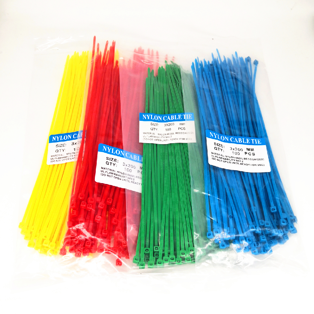 100Pcs Black White Bule Red Yellow Green Self-Locking Plastic Nylon Wire Cable Zip Ties Black Cable Ties Fasten Loop Cable