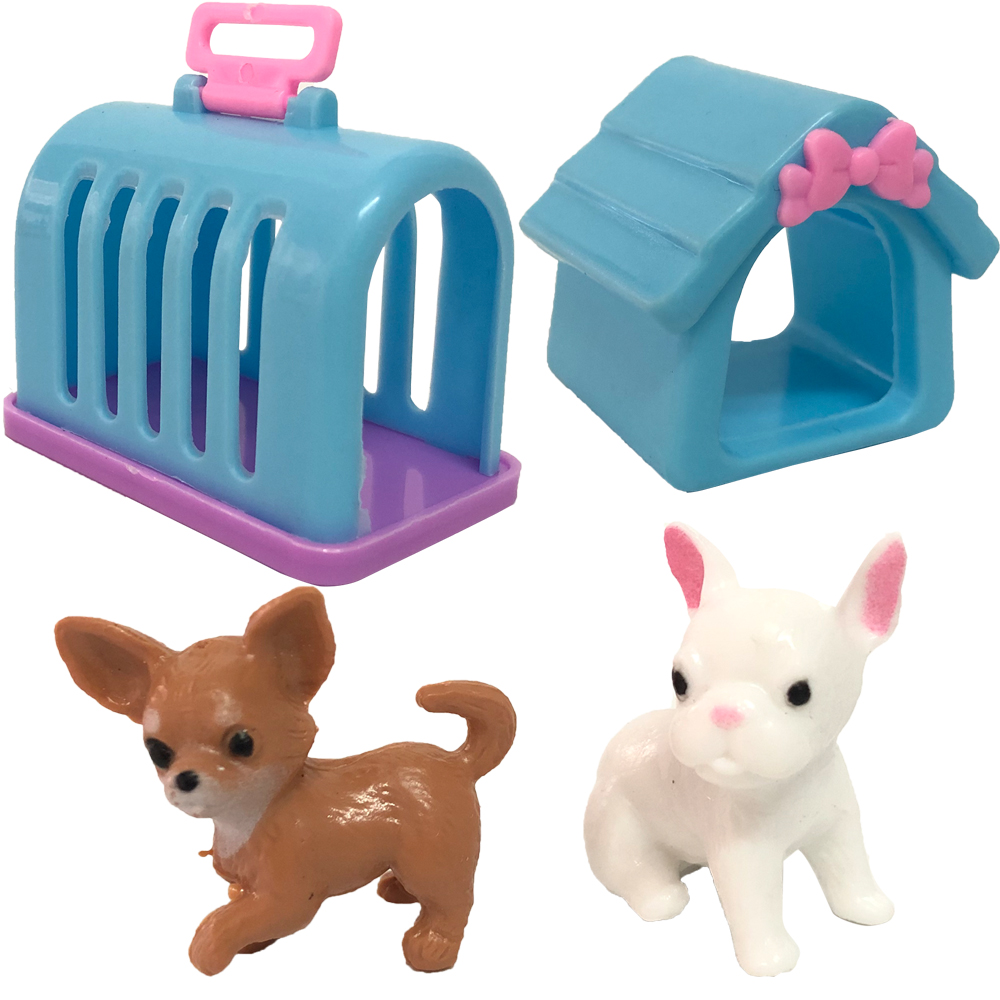 NK 4 Items/ Set Doll Accessories Fashion Mini Doll Pets Dog+Rabbit+House+Kennel For Barbie Doll For Kelly Doll Playmate Toy 12X