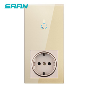 Image 3 - SRAN sensor switch,power socket with light switch 1/2/3gang 1way,Vertical installation crystal glass panel 172mm*86mm