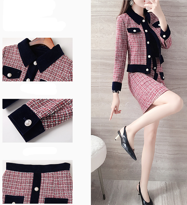 Hc0a1f219dfe04b3e8237bea5ad66951fr - Winter Women Tweed Vintage Two Piece Skirt Suits Sets Buttons Coat And A-line Skirt Outfits Sets Elegant Fashion 2 Piece Sets