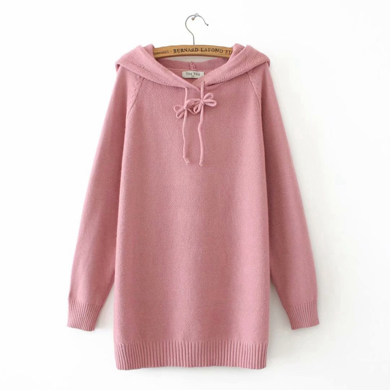 Women Plus Size Solid Color Hooded Sweater Lace Up Knitwear Jumpers Female Loose Casual Pullovers Sweater YY9612