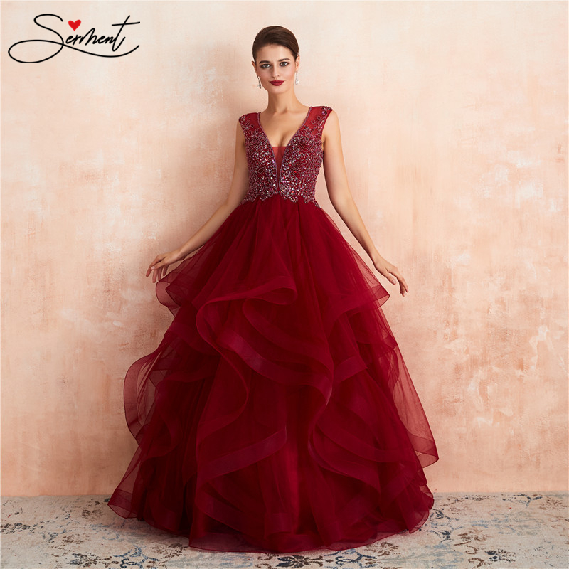 SERMENT Wine Red Ruffled Wedding Dress Back Zipper Ball Gown V-neck Beading Lacework Free Suitable For The Party Custom Made