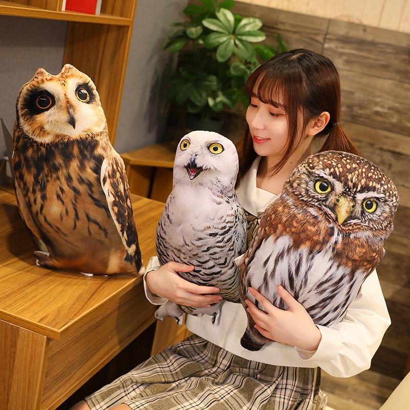 Almohadas de peluche de imitación de búho para niños, 1 unidad de 50cm, cojín suave de águila, decoración de sofá, juguetes de pájaros de dibujos animados para niños, regalo