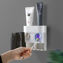 Shelf Toothpaste-Dispenser Bathroom Storage-Rack Squeezer Wall-Mount Dust-Proof Automatic