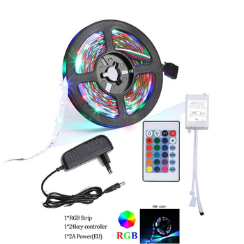IR Contoller+Adapter plug 5m 10m 15m 20m LED Strip Light RGB SMD5050 2835 DC12V Waterproof String Diode Flexible Ribbon for part image