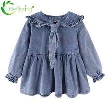 Осеннее джинсовое платье для девочек littlespring с бантом и