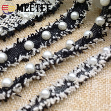 5Yards Vintage Embroidered Pearl Lace Trim Beaded Ribbon Fabric Handmade DIY Wedding Dress Sewing Craft KY2123