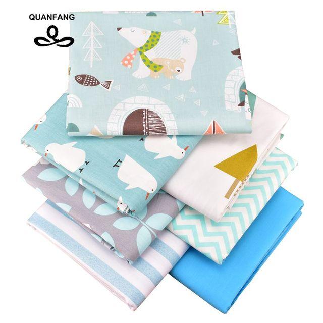 QUANFANG-7 pièces/lot de 50x16 0cm/pièce | Tissu en coton sergé imprimé pour Patchwork, bricolage, Quilting, tissu de couture pour bébés enfants