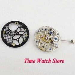 Mechanische 6497 Hand-Wicklung bewegung Fit für männer uhr 17 Juwelen silber Asian Volle Skeleton mit schwarz zifferblatt m15