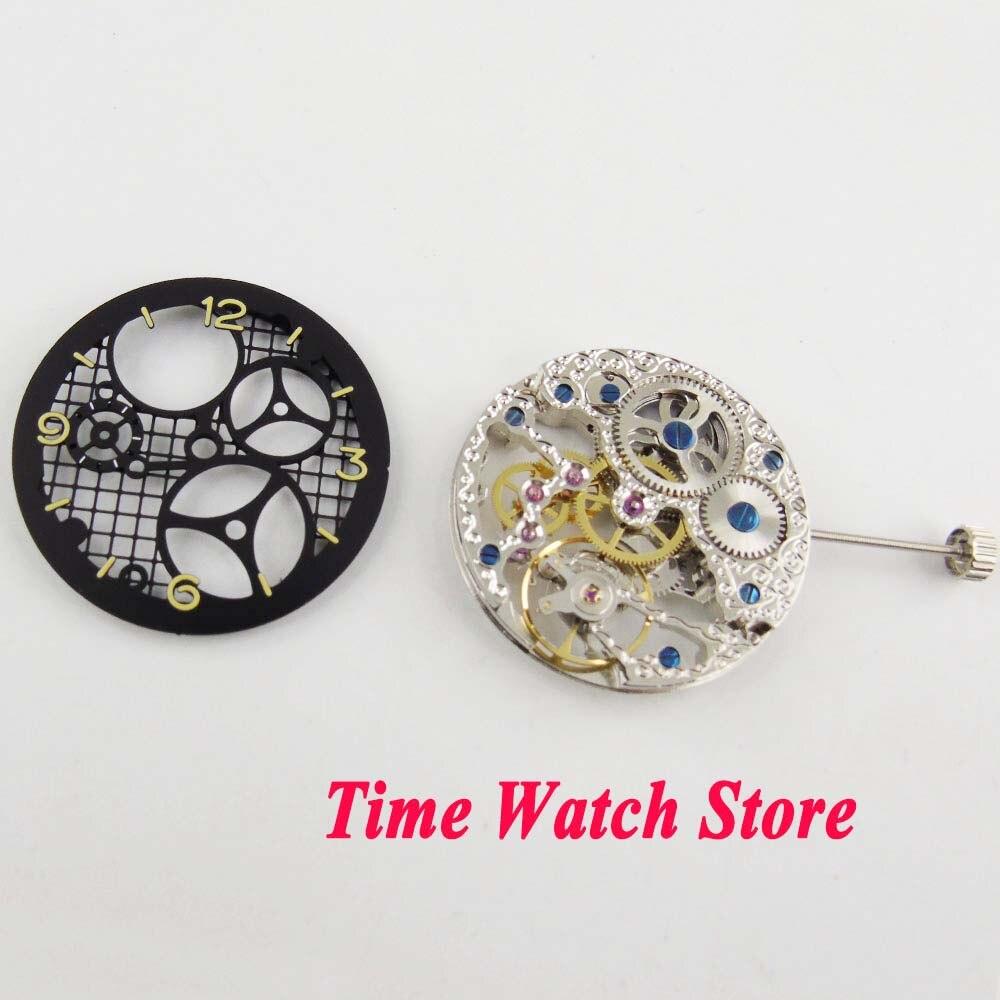 Apto para Relógio Completo com Mostrador Mecânico Mão-enrolamento Movimento Masculino 17 Jóias Prata Asiático Esqueleto Preto M15 6497