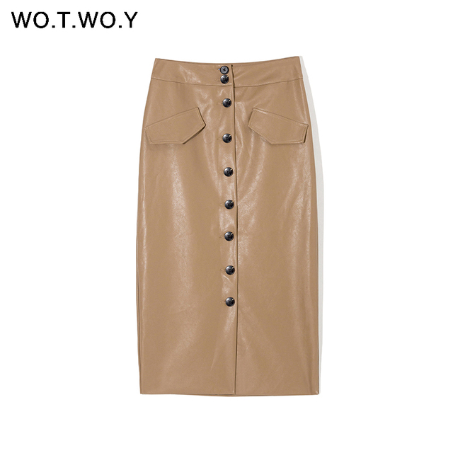 WOTWOY Elengant High Waist Leather Penci Skirt Women Multi Button Wrapped Skirts Mujer Faldas Solid Pockets Femme Jupes New 2020 3