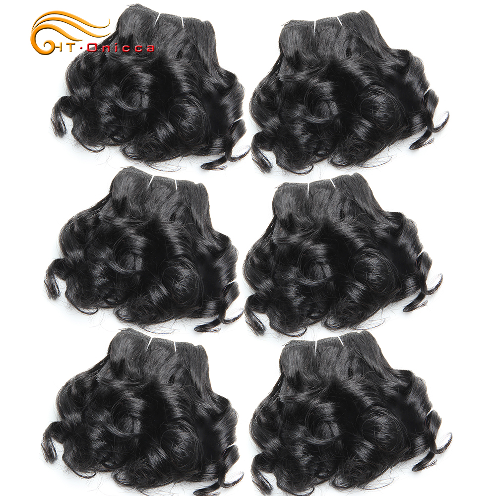 Curly Brazilian Hair Weave Bundles Bouncy Flexi Pissy Opran Curls 6 Pcs/lot Remy Human Hair Bundles 8 Inch Hair Extension