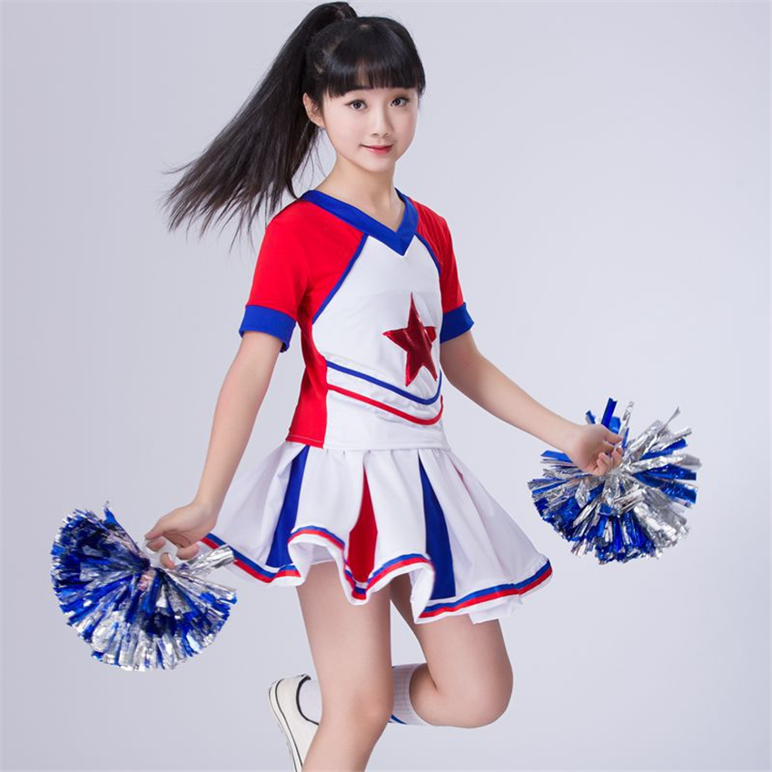 Children Cheerleader Dance Costumes Stage Performance Clothing Gymnastics Sports Meeting School Uniforms For Girls Skirt Set