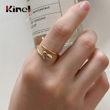 Kinel 18K Gold 100% 925 Sterling Silver Ring Heart Engagement Rings for Women Wedding Jewelry Top Quality 2020 New Bijoux Bague kinel bague real pure 925 sterling silver vintage layered rings for woman jewelry wedding finger open ring bijoux femme
