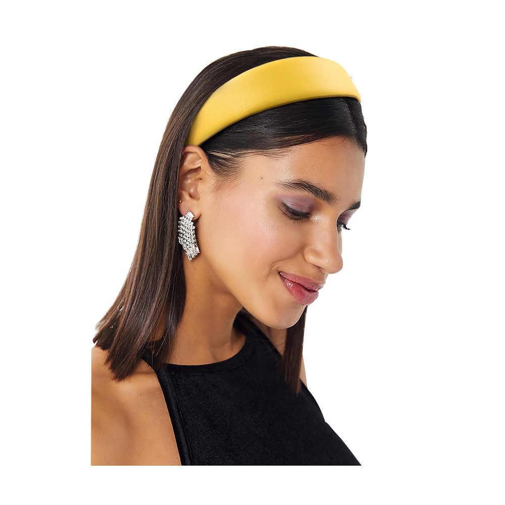 ใหม่ PU หนังแฟชั่น Hairband Headband ผู้หญิงผมหัววง Hoop อุปกรณ์เสริมสำหรับหญิง Hairbands Headdress Scrunchy Headwear