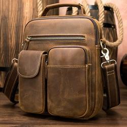 Мужская сумка-мессенджер MAHEU, модная винтажная Повседневная сумочка на плечо, кросс-боди, слинг из воловьей кожи для Ipad