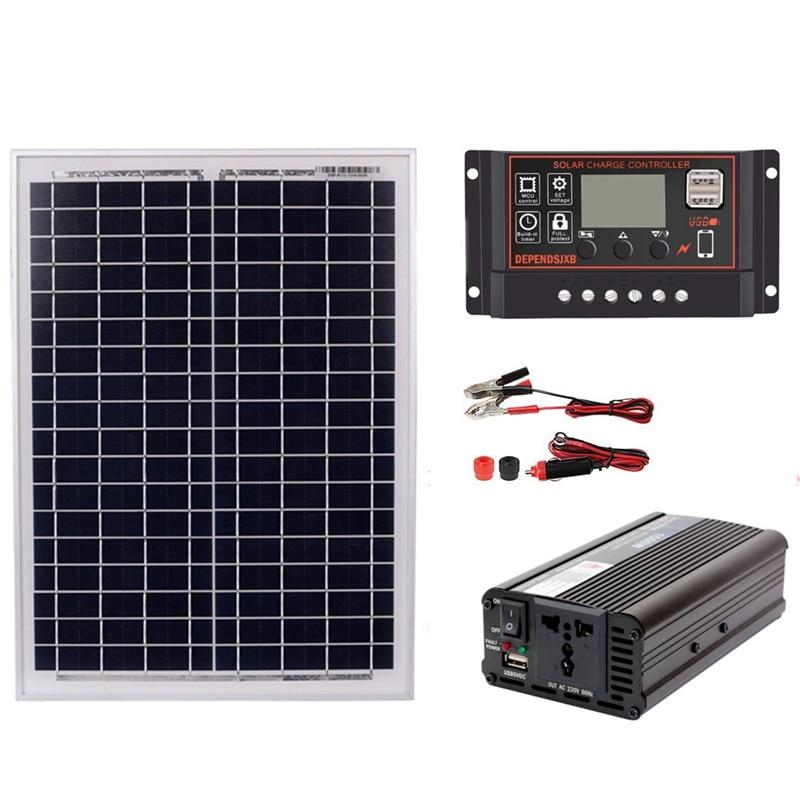 HTHL-18V20W Solar Panel +12V / 24V Controller + 1500W Inverter Ac220V Kit, Suitable For Outdoor And -Home Ac220V Solar Energy-Sa