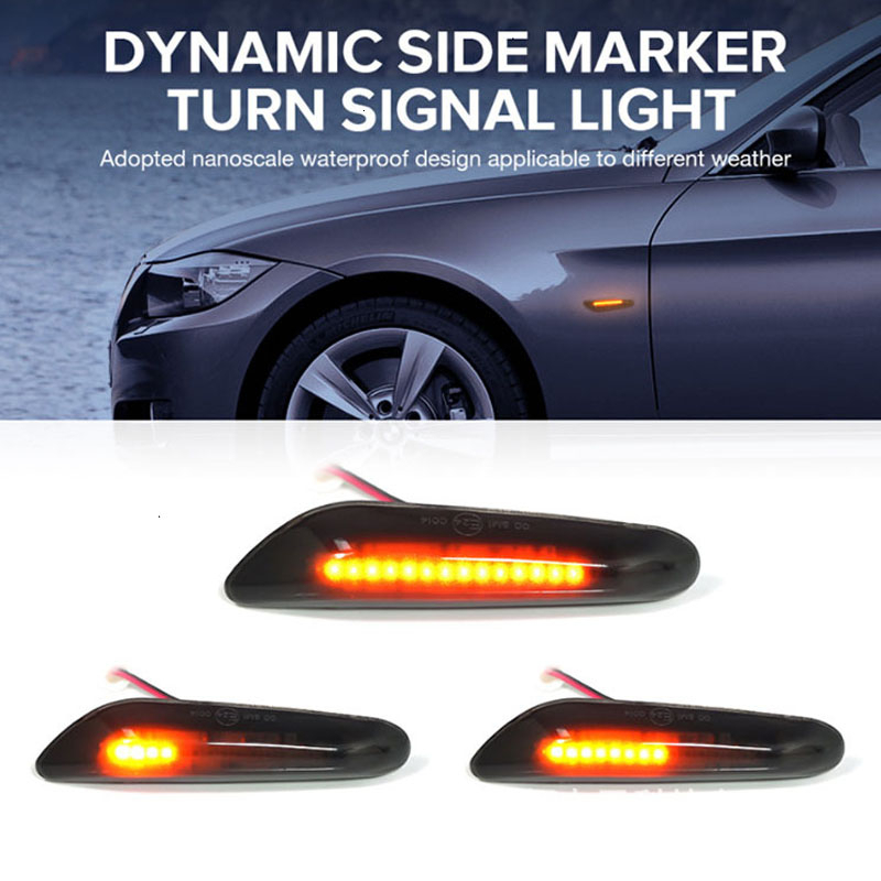 2x Smoke Led Side Marker Lights Streaming Water Indicator Turn Signal Light Lamp For BMW E90 E91 E93 E60 E87 E82 E46 No Error image