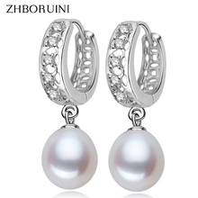 2015 Fashion Pearl Earrings 100% Real Natural Freshwater 925 Sterling Silver Dangle Jewelry For Woman