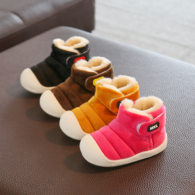 Winter Girls Boys Snow Boots 2019 Infant Toddler Plush Boots Outdoor Warm Non-slip Baby Boots Soft Bottom Kids Cotton Shoes
