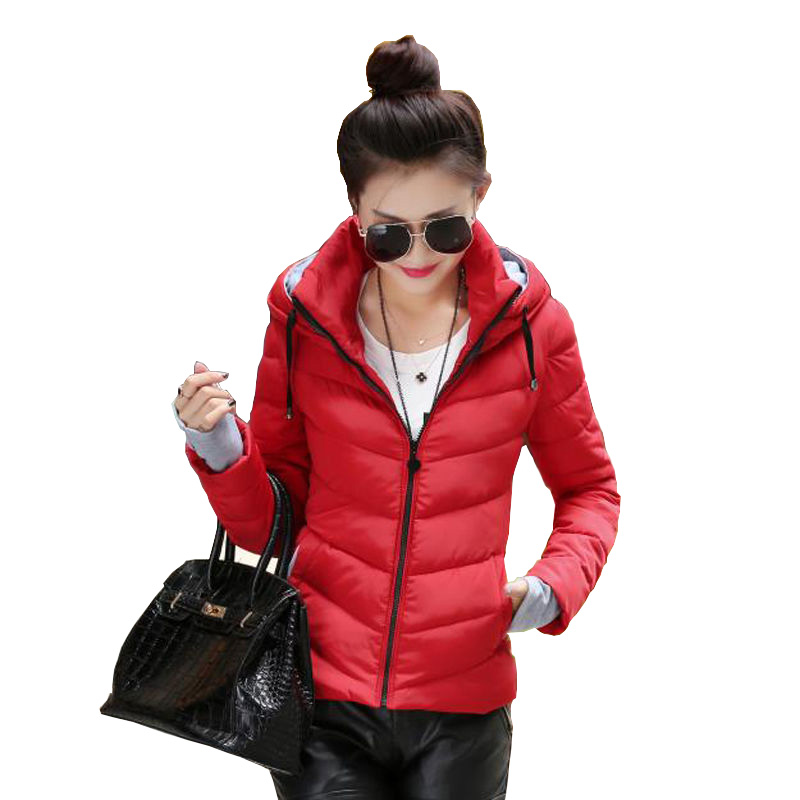 Winter Jacket Women Solid Hooded Cotton Padded Womens Coat Parkas Casual Short Chamarras De Mujer Para Invierno