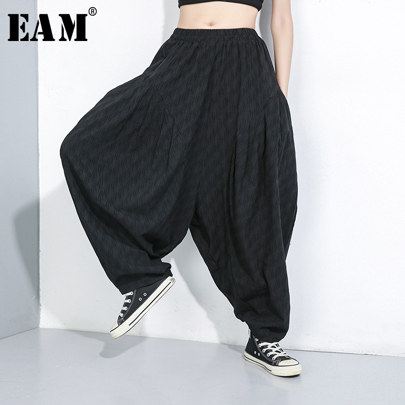 [EAM] High Elastic Waist Black Causal Trousers New Loose Fit Pants Women Fashion Tide All-match Spring Autumn 2020 1B705