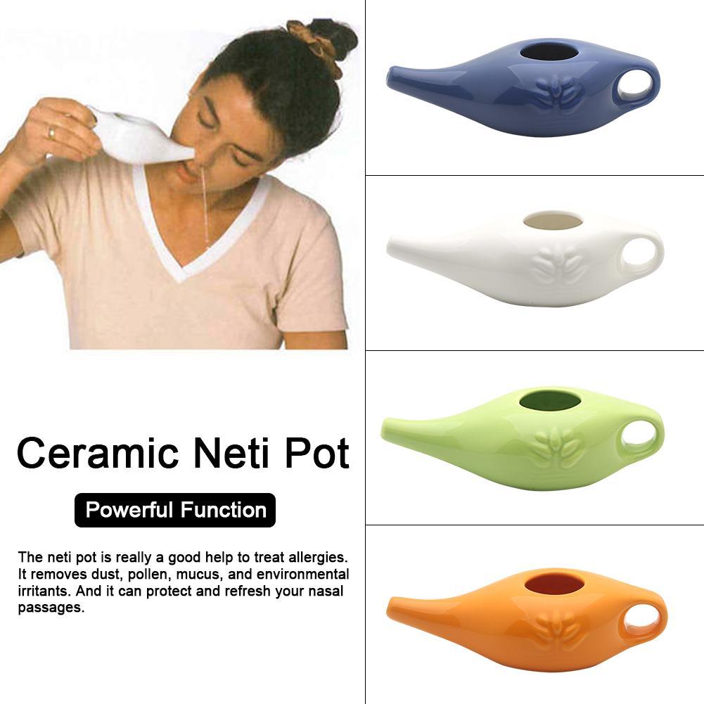 250 Ml White Ceramic Neti Pot Nose Washing Kit Yoga Professional Nasal Irrigator Nose Cleaning Pot