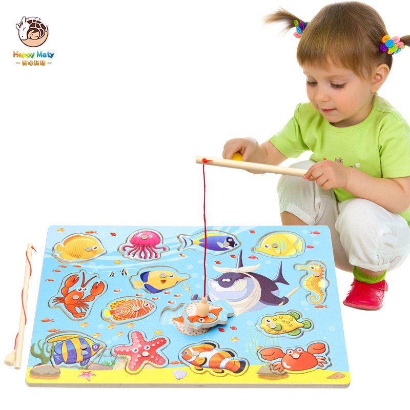 Funny Fishing Rods Wooden Children Toys Magnetic Play Fishing Game Educational Toy Sets For Baby Toddler Boys Girls