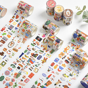 1 Pcs Cute Animals Global Travel Decorative Adhesive PVC Masking Washi Tapes DIY Scrapbooking Bear Dog Sticker Label Stationery
