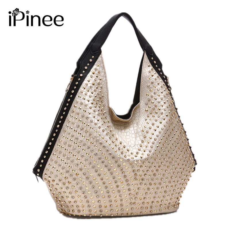 IPinee Women Luxury Leather Handbag Famous Designer Ladies Rivet Shoulder Hand Bag 2019 New Diamond Big Bag Sac Main Femme
