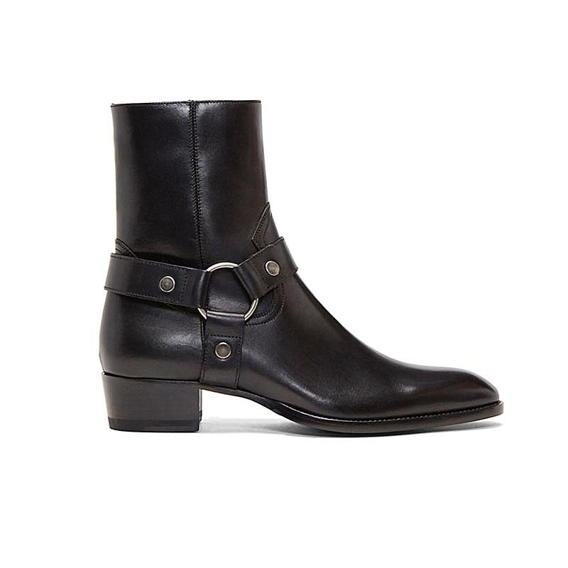 Estilo alto hecho a mano con hebilla de correa de anillo Unisex botas de Chelsea de cuero de cuña de mezclilla botas de arnés de banquete - 3