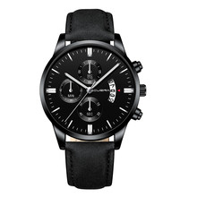 CUENA Men Wrist Watch Sport Leather Band Stainless Steel Cas
