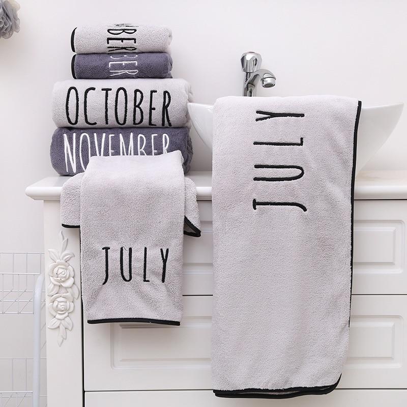 12 months Towel Bath Towels Superfine Fiber Embroidered Towel Women Bathroom Super Absorbent Washcloths Towel Wrap Dress