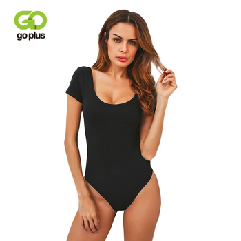 GOPLUS Summer Skinny Jumpsuit Romper Bodysuit Women Sexy Female Overalls O-Neck Backless Short Sleeve Bodysuits C6210