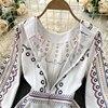 Boho 2021 High Waist Elegant Dresses Women Dress Party Luxury Long Sleeve Autumn Spring A-Line Runway Vintage Embroidery Puff 4