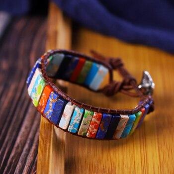 Chakra Bracelet Jewelry Tube Beads Natural Stone Handmade Multi Color Leather Wrap Bracelet Creative Gifts Couples Bracelets