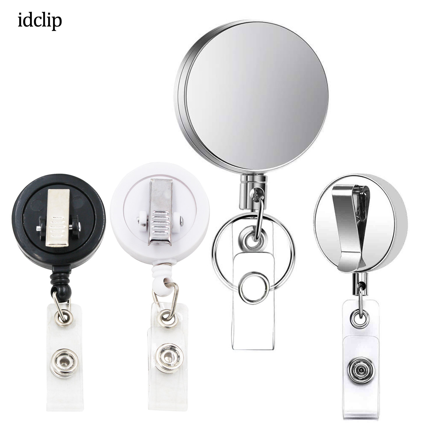 Idclip 1PC Metal Retractable Badge Holder Heavy Duty ID Badge Reels With Key Chain Belt Clip ID / Key Card