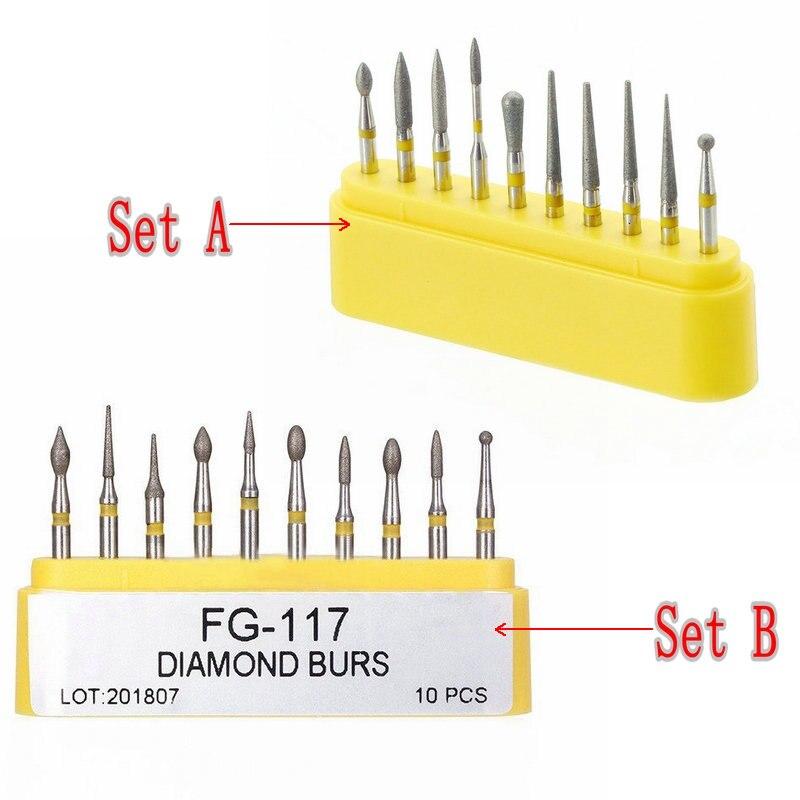 10pcs/kit Dental Diamond Burs For Teeth Porcelain Ceramics Composite Polishing