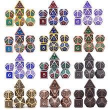 Металлические игральные кости Dragon Scale 7 шт. с чехлом для DND ролевой игры MTG настольные игры D4 D6 D8 D10 D12 D20