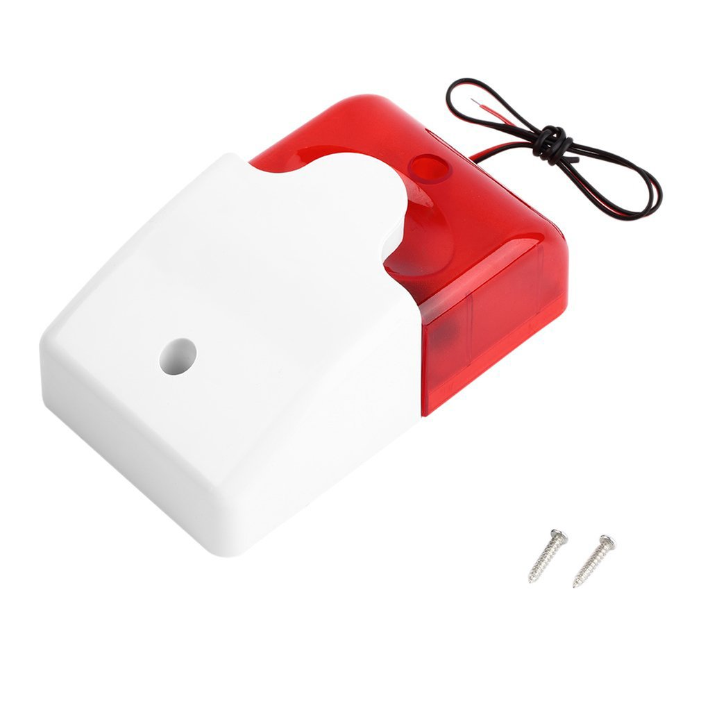 1Sets Mini Wired Strobe Siren Durable 12V Sound Alarm Strobe Flashing Red Light Sound Siren Home Security Alarm System 115dB